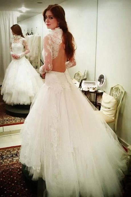 Cheap wedding dresses 2017,High Neck Long Sleeves Open Back Lace Mermaid Wedding Dress 2017