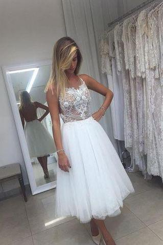 Cheap wedding dresses 2017,A-Line Tulle Short Wedding Dresses,Wedding Dress,Custom Made Wedding Gown