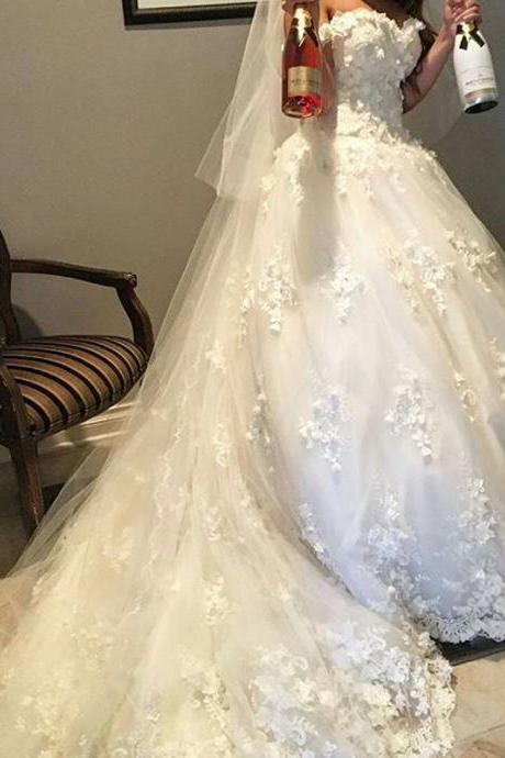 Cheap wedding dresses 2017,Sweetheart Neckline Wedding Dress, Handmade Flowers Wedding Dress, Princess Wedding Dress, Ivory Wedding Dress, Cheap Wedding Dress, Elegant Wedding Dress, Simple Wedding Dress, Luxury Bridal Ball Gowns