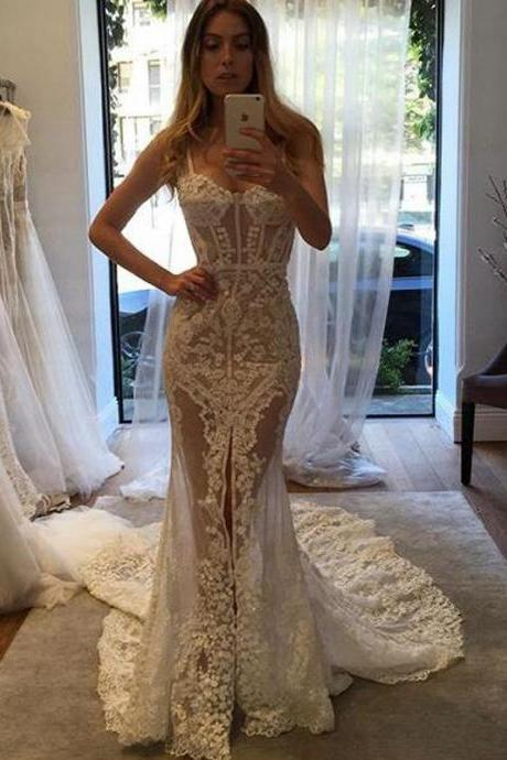 Cheap wedding dresses 2017,Sexy Sweetheart Court Train Illusion Sheath Lace Wedding Dress with Legslit