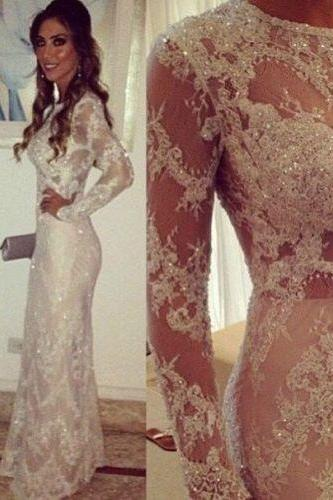 Cheap wedding dresses 2017,Mermaid Wedding Dress, Lace Applique Wedding Dress, Crystals Wedding Dress, Long Sleeve Wedding Dress, Affordable Wedding Dress, Elegant Wedding Dress, Sheer Wedding Dress, Sparkly Bridal Dress, Wedding Dresses For Bride