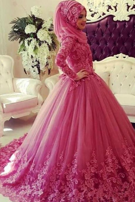 Pink Muslim Wedding Dress With Hijab, Cheap wedding dresses 2017,Lace Wedding Dress, Long Sleeve Wedding Dress, Elegant Wedding Dress, Cheap Wedding Dress, Wedding Dresses 2017, Puffy Wedding Dress, Gorgeous Wedding Dress
