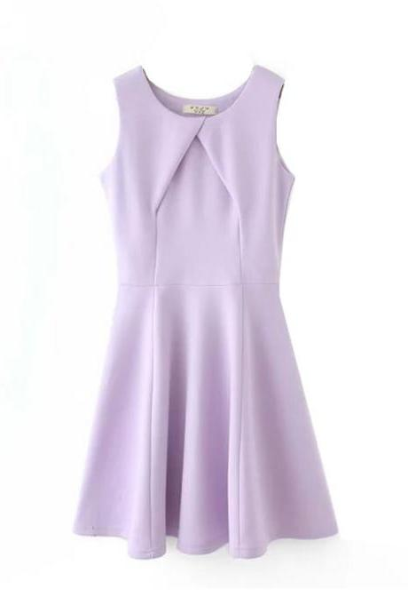Summer new European and American women's fashion Slim candy-colored sleeveless dress