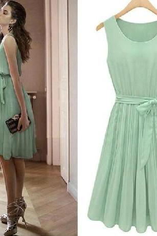 sleeveless pleated vest dress chiffon dress