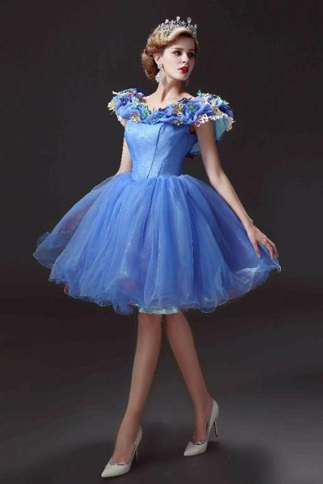 Cheap homecoming dresses 2017,New Arrival Short Homecoming Dresses Movie Deluxe Adult Cinderella Party Gowns Applique Blue Cinderella vestido de festa