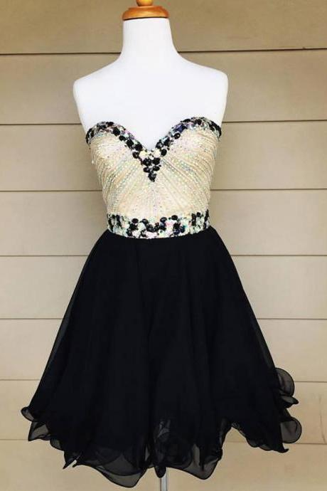 Cheap homecoming dresses 2017,Black Chiffon Homecoming Dresses,Sparkly Beaded Bodice Short Prom Dresses,2017 Hoco Dresses,Beaded Sweet 16 Dress,