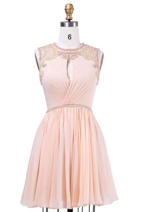 Cheap homecoming dresses 2017,A-line Coral Homecoming Dresses,Scoop Short Homecoming Gown,Chiffon Homecoming Dress With Beaing Pleats