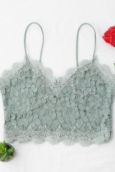 Cami Scalloped Lace Tank Top - Light Green S
