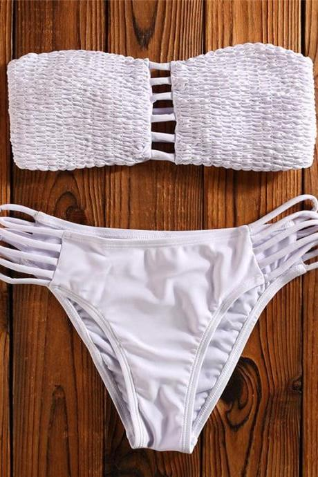 Cut Out Tube Bikini Swimwear - White S