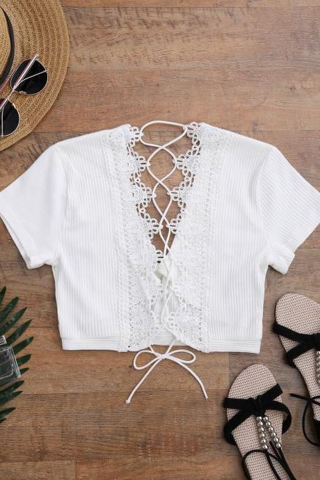 Crochet Panel Plunge Lace Up Cropped Cover Up - White S
