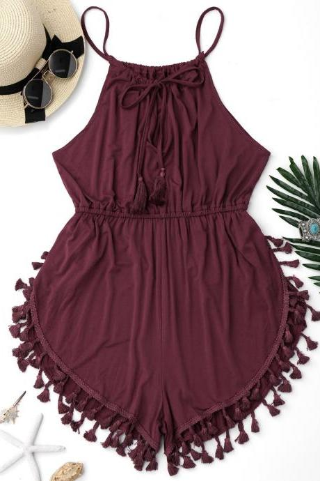 Tassel Cover Up Dolphin Romper - Burgundy M