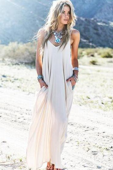 FAST SHIPPING 2017 New Fashion Women's Cream See through Maxi Dress With Pockets Beach wear Dress