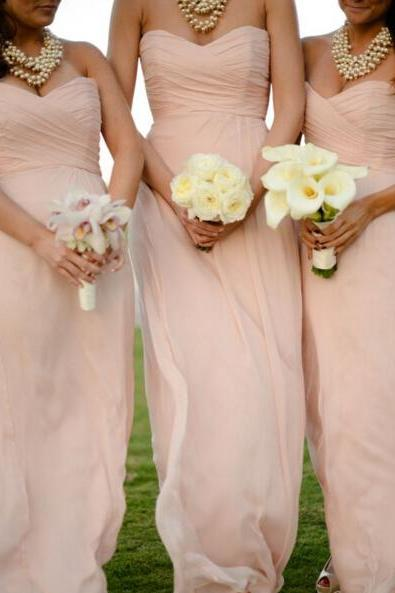 Cheap bridesmaid dresses 2017,Elegant Sweetheart Floor Length Pearl Pink Bridesmaid Dresses, Bridesmaid Dresses, Wedding Party dresses