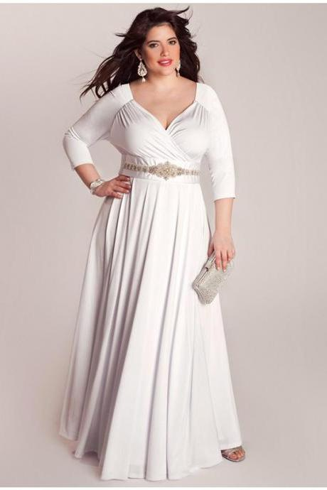 White/Ivory Three Quarter Sleeves Mother of the Bride Dresses for Fat Women Plus Size Formal Women Clothing