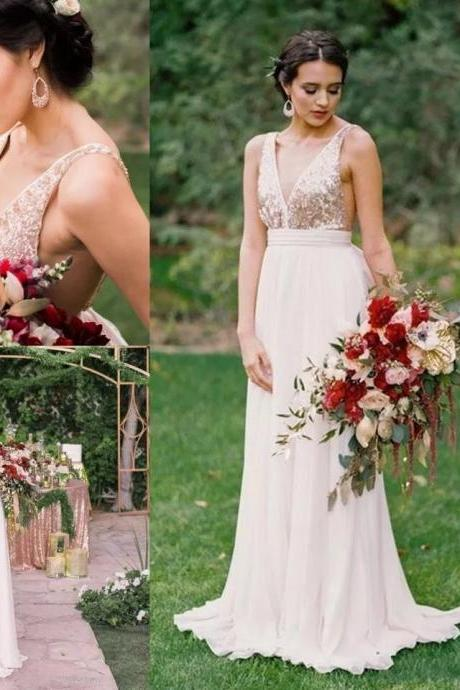 Cheap bridesmaid dresses 2017,Elegant A-line V Neck Sequins Long Bridesmaid Dress with Open Back