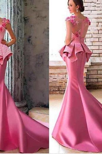 Cheap prom dresses 2017,Pink Satin Lace Evening Dress, Chapel Train Long Evening Dress, Cheap Cap Sleeve Elegant Evening Dress, Formal Dresses 2017 Long