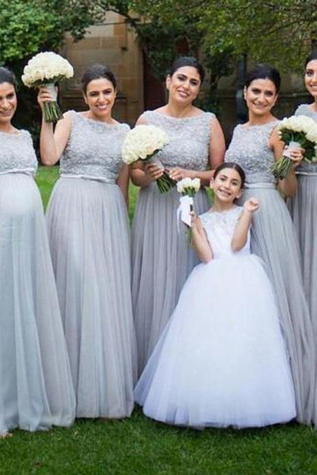 Cheap bridesmaid dresses 2017,Silver Tulle Elegant Long Cheap Wedding Party Bridesmaid Dresses for Pregnant Girls,