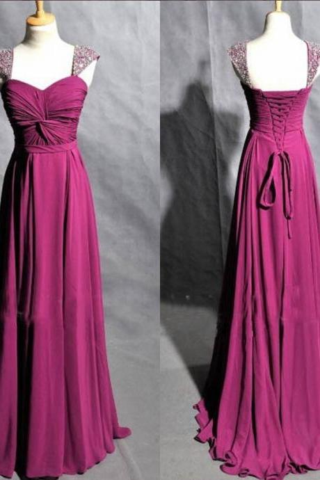 Cheap bridesmaid dresses 2017,Elegant Purple Prom Dresses,Sweetheart Floor Length Prom Dresses,Chiffon Prom Dresses,Beading Prom Dresses,Bridesmaid Dresses,Evening Dresses