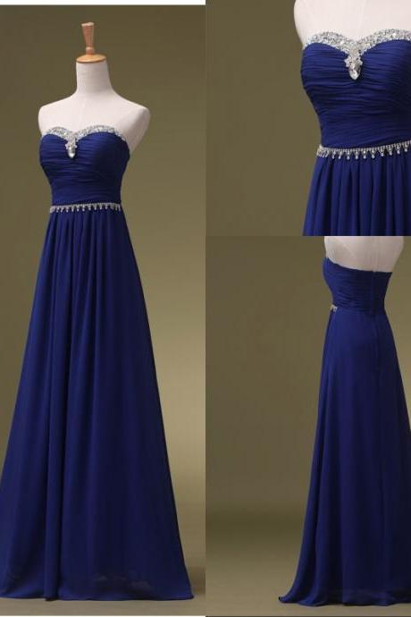 Cheap bridesmaid dresses 2017,Royal Blue Prom Dresses, Long Bridesmaid Dresses, Long Evening Dresses, Strapless Evening Gowns, Formal Dress, Party Dresses Custom
