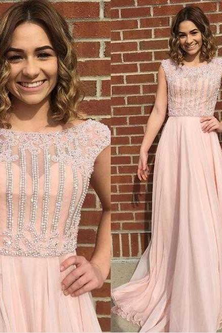 Cheap prom dresses 2017,New Arrival Cap Sleeves Beaded Long Light Pear Pink Prom Dresses Evening Dresses with Beading for Women