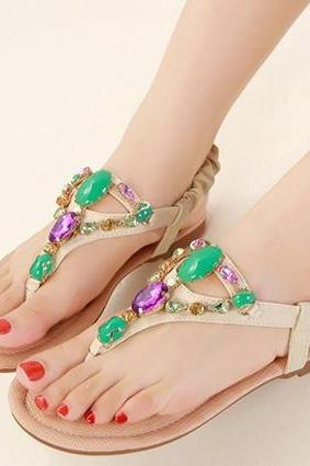 Multi Colored Diamond Beaded Design Sandals in Pink and Apricot