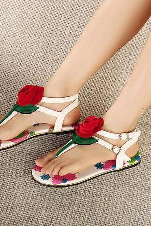 Cute Floral Casual Flat Sandals
