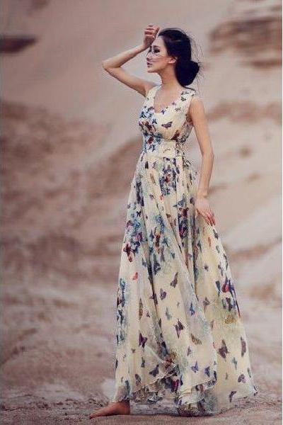 Ladies V -Neck Chiffon Dress Vest, Skirt Big Skirt Floral Dress Women
