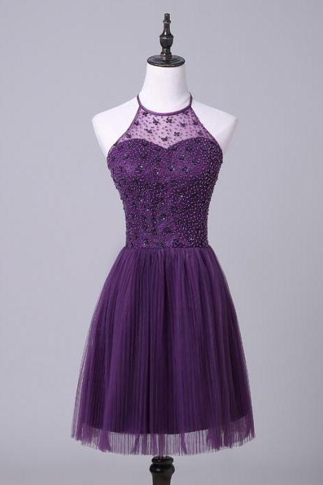 Cheap homecoming dresses 2017,Purple Halterneck Short Homecoming Dress with Beaded Embellishment