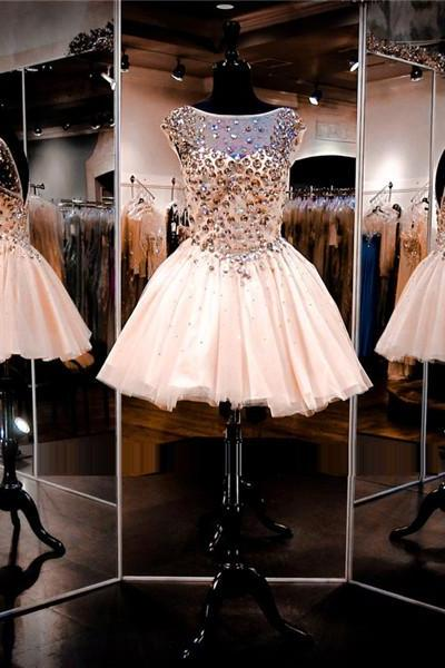 Cheap homecoming dresses 2017,Baby Pink Prom Dress,Short Prom Dress,