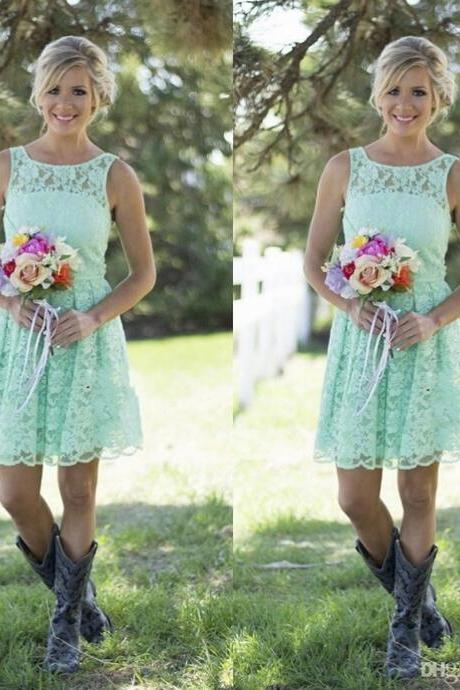 New Short Mint Green Bridesmaid Dresses 2017