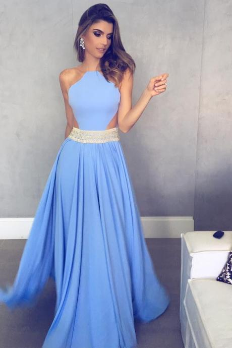 Cheap prom dresses 2017,Long Mint Chiffon A line Evening Dress with Sheer Back