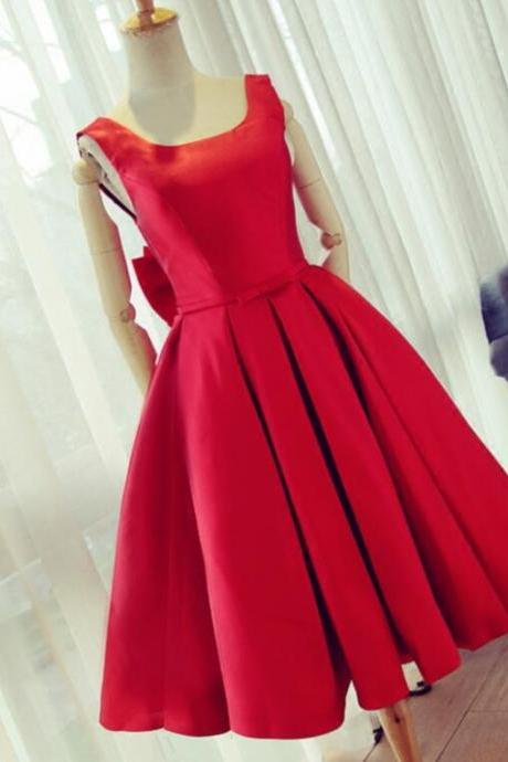 2017 Summer Fashion Party Dress,Knee Length Red Prom Dress,