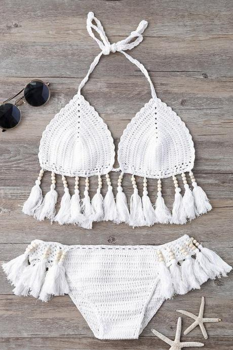 Beads Tassels Crochet Bikini Swimwear - White One Size(fit Size Xs To M)