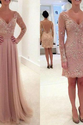 Cheap prom dresses 2017,Long prom dress, two piece prom dress, v-neck prom dress, lace prom dress,