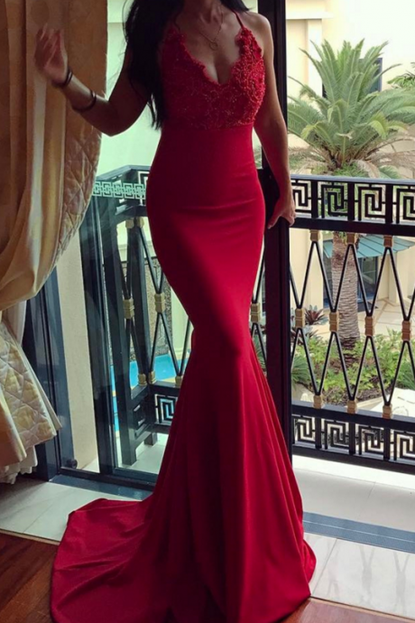 Cheap prom dresses 2017,red mermaid dress,v neck evening gowns,long prom dress,sexy prom dress,