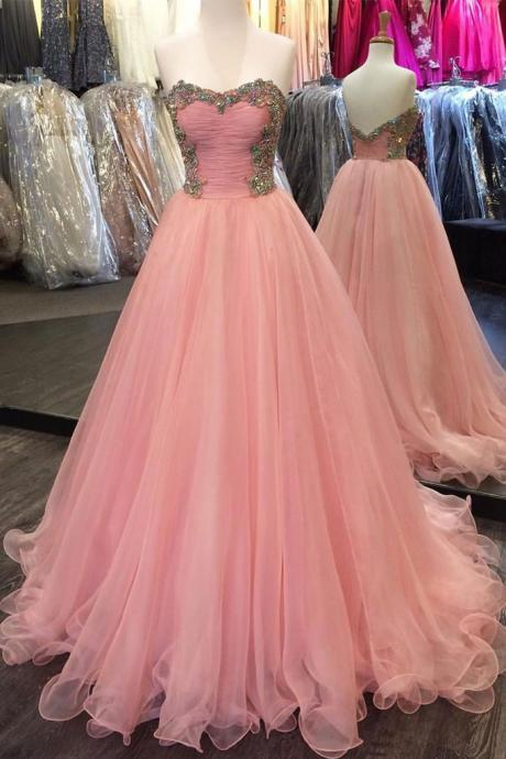 Cheap prom dresses 2017,pink sweetheart neck tulle long prom dress, pink evening dress