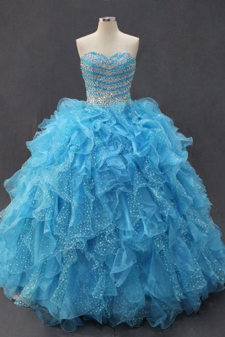 Cheap prom dresses 2017,Stunning Blue Ball Gown Quinceanera Dresses