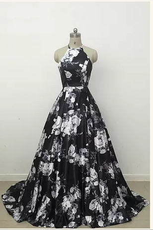 Custom Made Halter Neckline Satin A-Line Bridesmaid Dress with Dark Floral Prints, Prom Dress