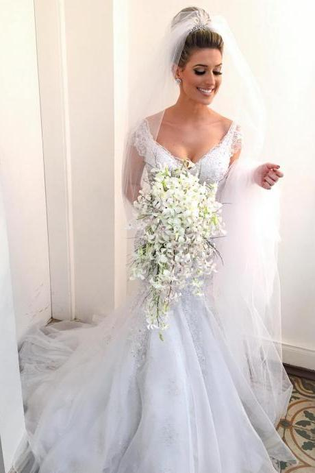 Stunning Mermaid V neck Bridal Wedding Dress with Cap Sleeves and Beaded Lace Appliques