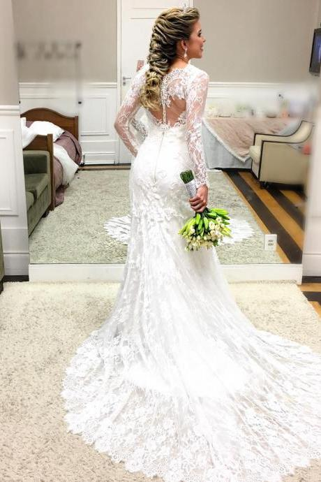 Cheap wedding dresses 2017,Romantic Lace Mermaid Wedding Dress with Sheer Long Sleeves