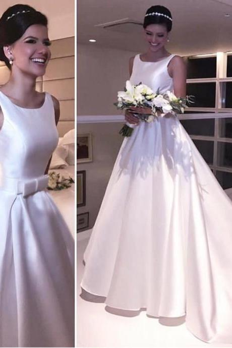 Cheap wedding dresses 2017,Puffy Satin Scoop-Neck Long Backless Wedding Dress