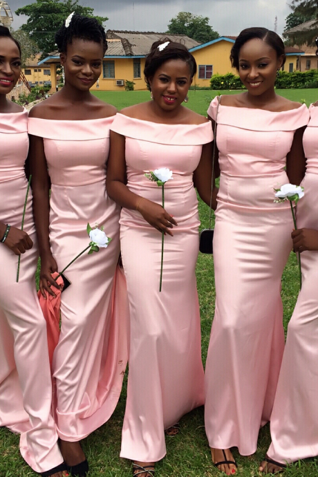 Long Off-the-Shoulder Mermaid Bridesmaid Dress in Pink for African Women