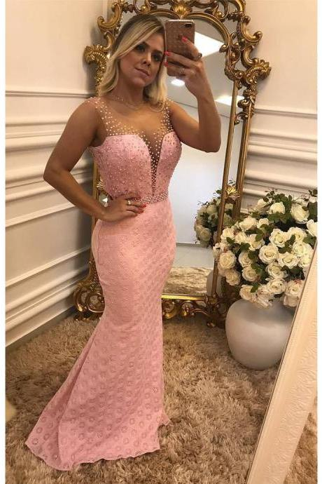 Cheap prom dresses 2017,Illusion Back Lace Mermaid Evening Dress with Pearls