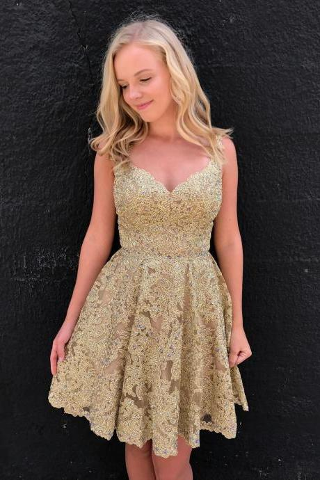 Cheap homecoming dresses 2017,Gold Lace Short Homecoming Dress