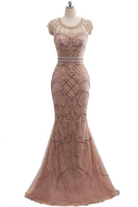 Cheap prom dresses 2017,Champagne Color Party Occasion Formal Long Mermaid Evening Dress