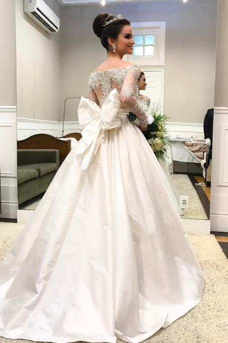 Cheap wedding dresses 2017,Off-the-Shoulder Long Sleeves Taffeta Ball Gown Wedding Dress with a Bow