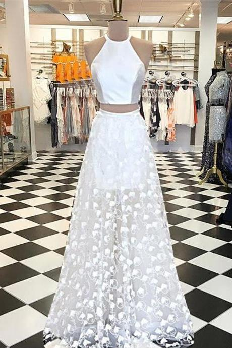 Cheap prom dresses 2017 crop top Two Piece A-line Jewel White Floor-length Appliques Prom Dress