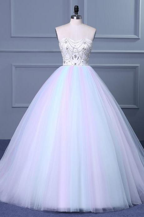 Cheap wedding dresses 2017,Strapless Sweetheart Colorful Wedding Gown with Sweep Train