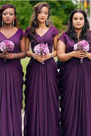 Cheap wedding dresses 2017,Custom Made Purple Plus Size Bridesmaids Dresses