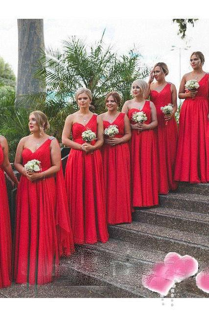 Red Bridesmaid Dresses Cheap Sweetheart One Shoulder